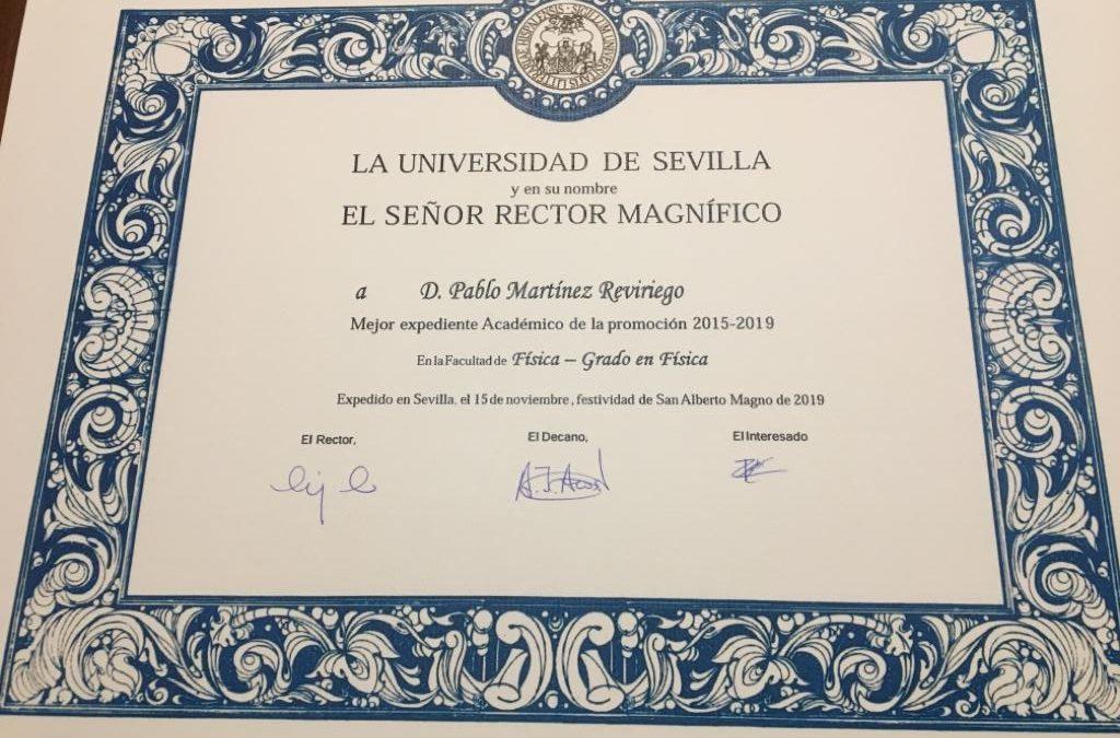 D. Pablo Martínez Reviriego, mejor expediente de la Facultad de Física